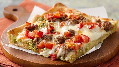 Sicilian-Style Pizza with Broccoli Pesto
