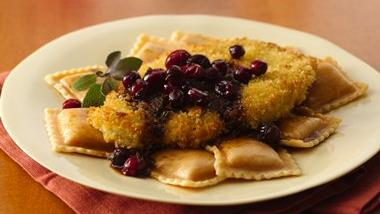 Turkey Scallopini and Squash Ravioli with Cranberry Brown Butter