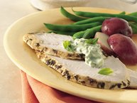Slow-Cooker Garlic-Spiked Turkey Breast with Fresh Basil Mayonnaise