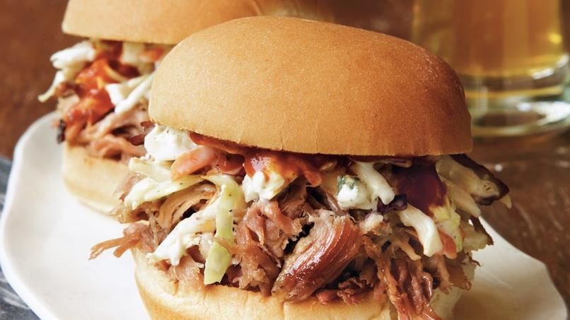 BBQ Pork Sliders with Blue Cheese Slaw