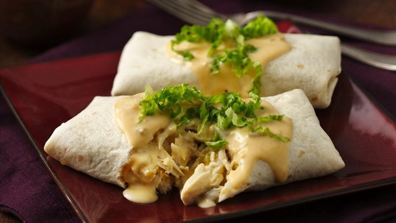 Slow-Cooker Cheesy Chicken Sour Cream Burritos