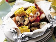 Grilled Seafood Foil Packs with Lemon-Chive Butter