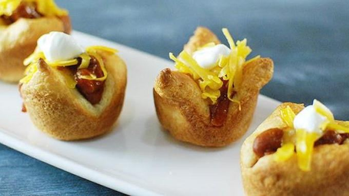 mini chili dog crescent cups recipe from tablespoon. Black Bedroom Furniture Sets. Home Design Ideas