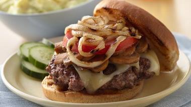 Grilled Mushroom Swiss Burger