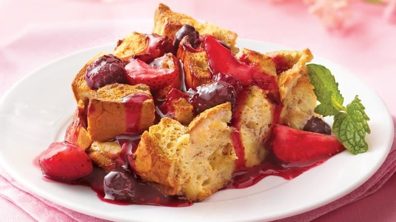 Overnight French Toast Bake with Berry Topping