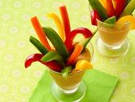 Carrot Hummus with Veggie Sticks