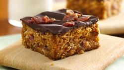 Chocolate-Topped Peanut Butter-Bacon Bars