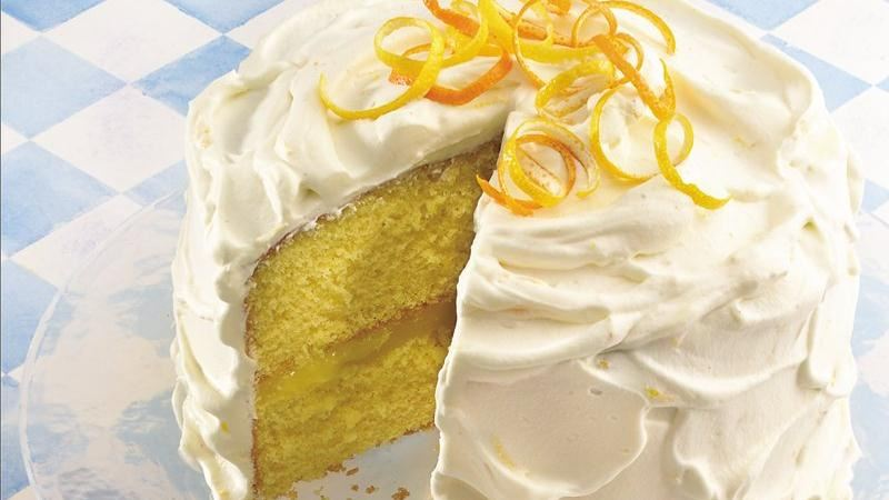 White Cake With Lemon-Lime Curd Filling And Whipped Cream Frosting ...