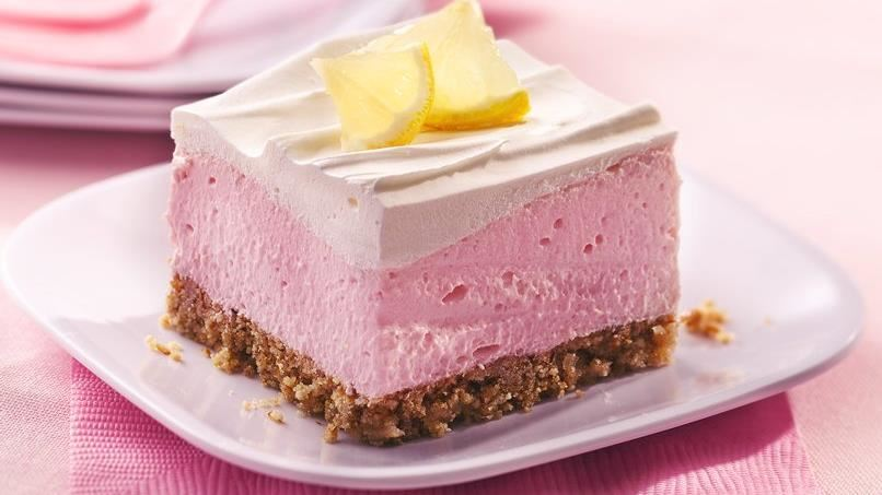 Fluffy Pink Lemonade Dessert with Pretzel Crust