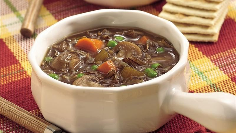 Slow-Cooker Wild Rice and Mushroom Soup recipe from Betty Crocker
