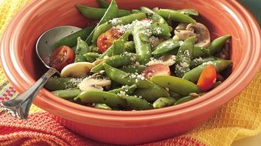 Basil-Sugar Snap Peas with Mushrooms