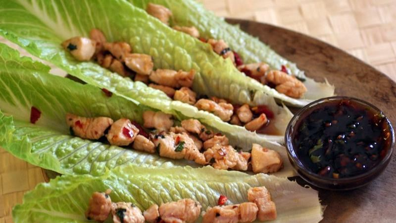 Lemongrass-Chile-Chicken Lettuce Wraps