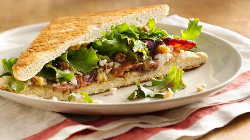 Bacon and Goat Cheese Salad on Walnut Flatbread