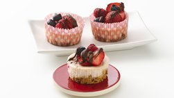 Skinny Triple-Berry Mini Cheesecakes