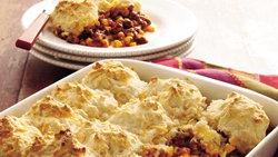 Taco Beef Bake with Cheddar Biscuit Topping
