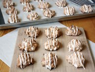 Carrot Cake Macaroons with Maple-Cream Cheese Glaze
