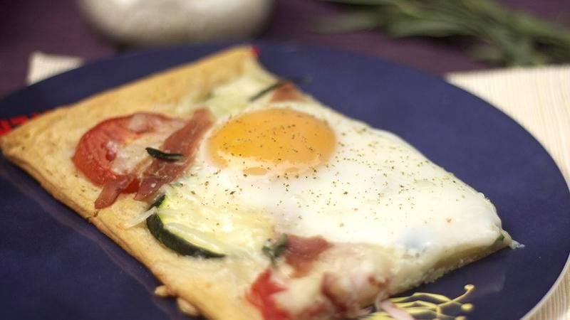 Cheesy Baked Egg Tart with Tarragon, Tomato and Zucchini