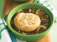Cheesy Crescent-Topped Onion-Mushroom Soup