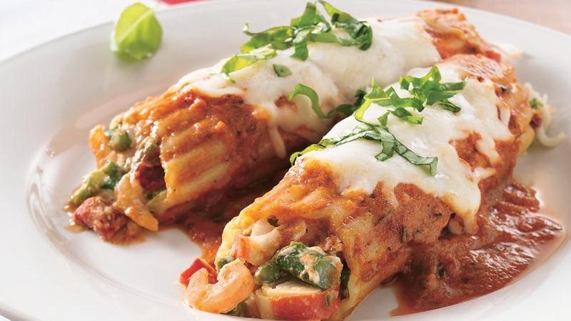Seafood and Asparagus Manicotti