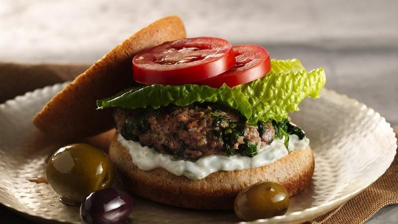 Greek Pita Burgers with Spinach, Feta and Tzatziki Sauce