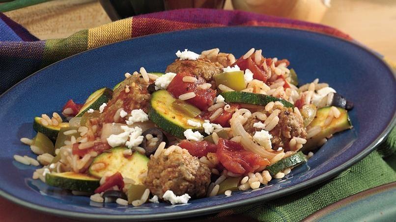 Mediterranean Meatball Supper Skillet