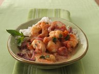 Thai Seared Shrimp with Tomato, Basil and Coconut
