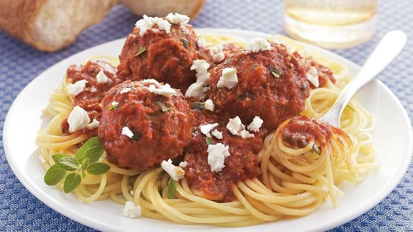 Greek Meatballs with Spaghetti