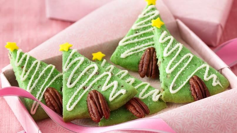 Pecan Shortbread Christmas Tree Cookies
