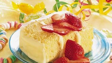 Strawberry Topped Lemon Cream Cheese Cake