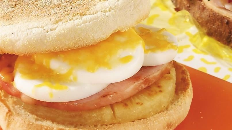 Canadian Bacon-Pineapple Breakfast Sandwiches