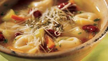 Tortellini, Bean and Pesto Soup