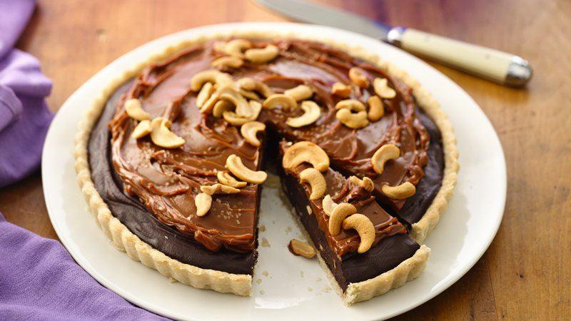 Salted Cashew-Bittersweet Chocolate Tart recipe from Betty Crocker