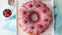 Rainbow Chip Bundt with Fresh Raspberry Glaze