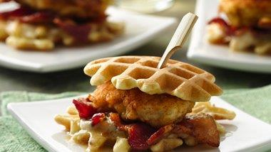 Fried Chicken and Waffle Sandwich Bites