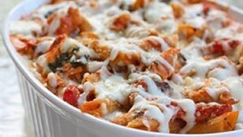 Healthy Three Cheese Chicken Pasta Bake