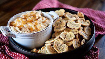 Warm Salted Caramel Apple Dip with Cinnamon Roll Cookies