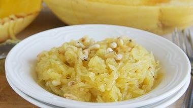 Spaghetti Squash with Parmesan and Pine Nuts