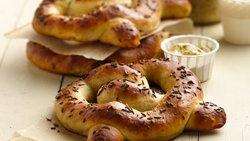 Brat and Sauerkraut-Filled Pretzels