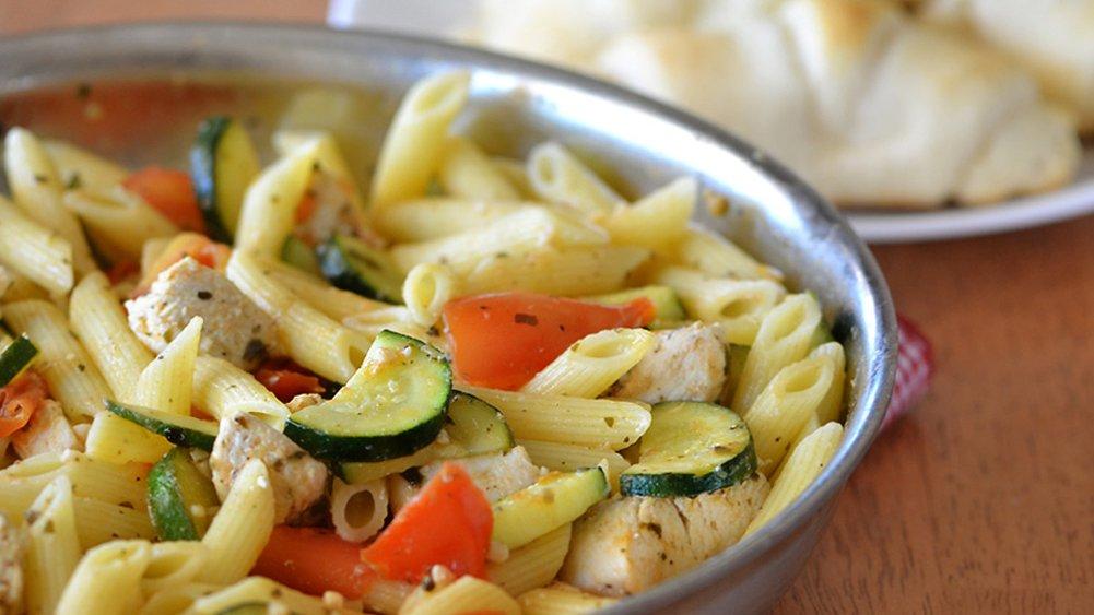 Tomato, Zucchini and Chicken Skillet Pasta