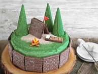 Double Chocolate S'mores Camp Cake