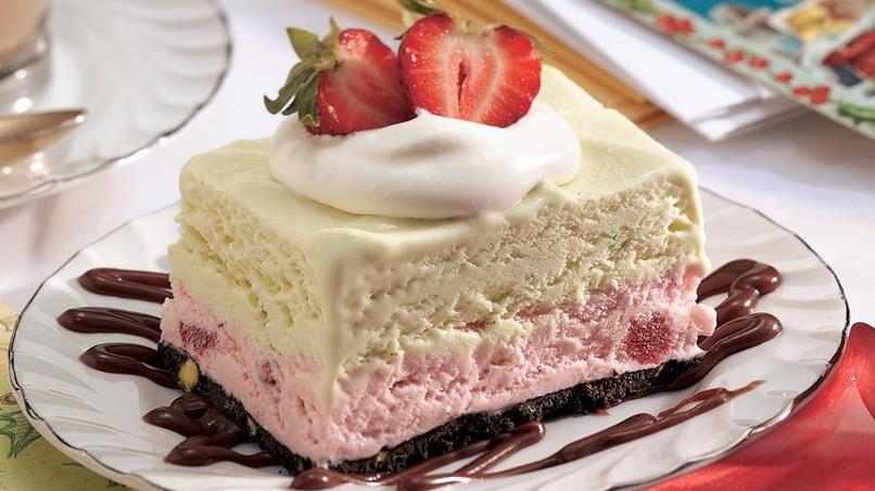 Frozen Strawberry-Pistachio Dessert