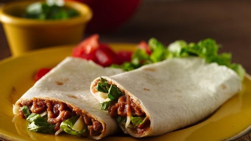 Refried Bean Roll-Ups (lighter recipe)