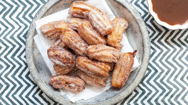 Mini Roasted Apple Churros with Salty Caramel