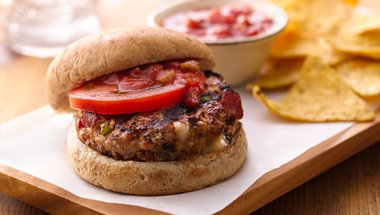 Grilled Cheese-Stuffed Turkey Burgers