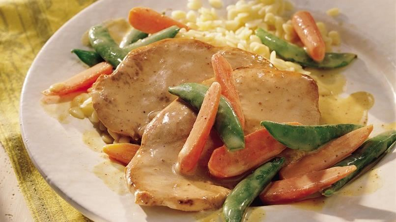 Turkey Cutlets with Snap Peas and Carrots