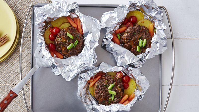 Burger and Veggie Foil Packs