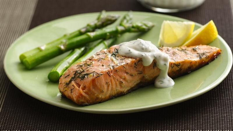 Grilled Salmon with Lemon Dill Sauce recipe from Betty Crocker