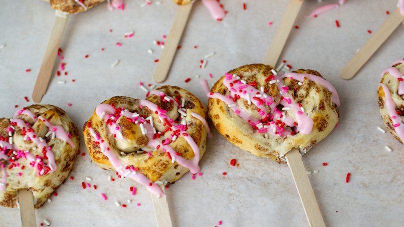 Heart-Shaped Cinnamon Rolls on Sticks