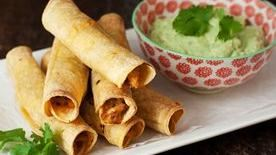 Baked Chicken Taquitos with Green Chiles and Avocado Yogurt Dip