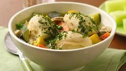 Summer Chicken Soup with Biscuit Dumplings